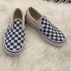 Vans checkered blue & white slip on skate shoe